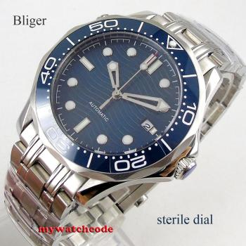 цена 41mm bliger blue sterile dial Sapphire glass Ceramic bezel stainless steel automatic mens watch B303 онлайн в 2017 году