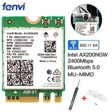 Double bande 2.4Gbps sans fil Intel Wi Fi 6 AX200 Bluetooth 5.0 802.11ax/ac MU MIMO 2x2 Wifi NGFF M.2 carte réseau Wlan AX200NGW