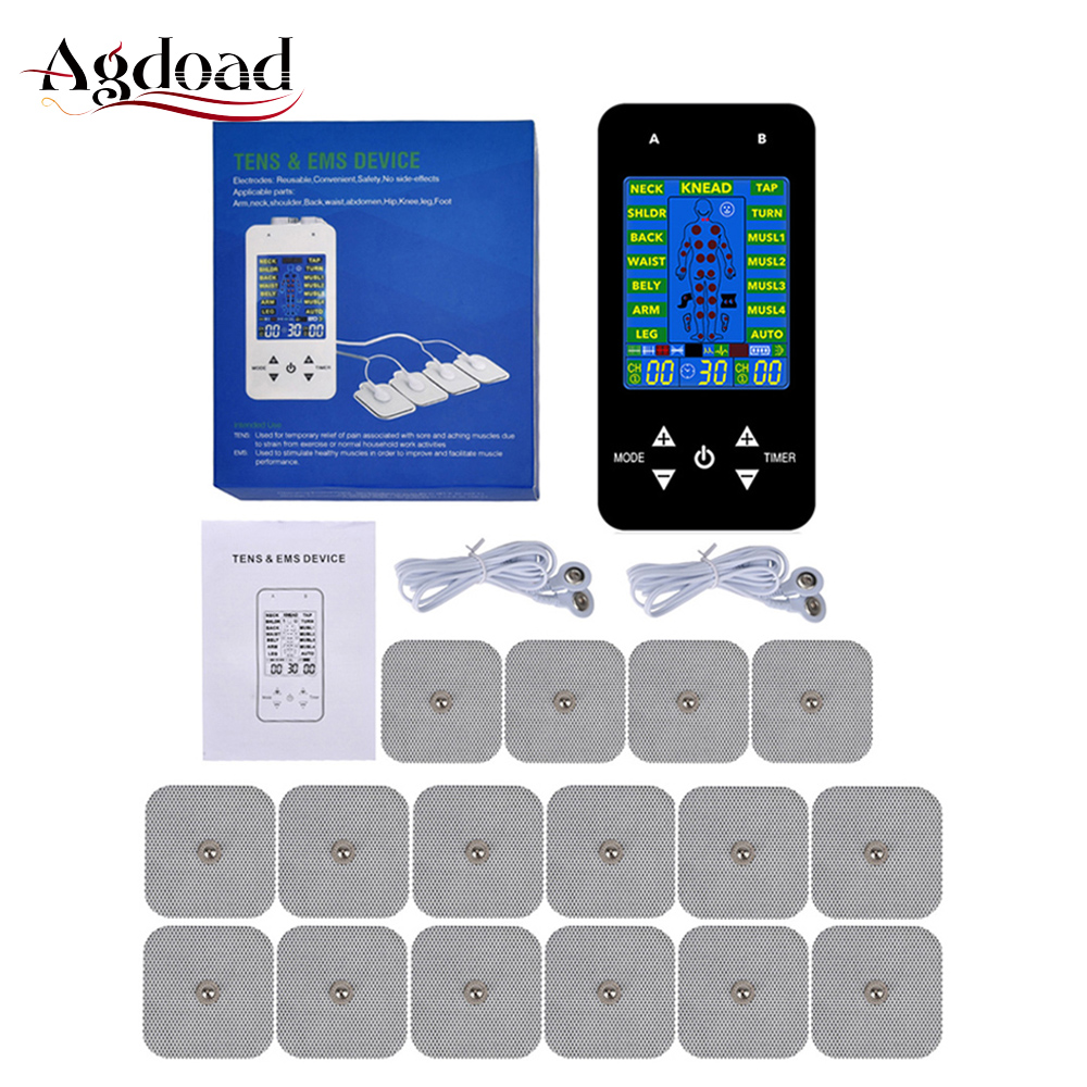 Tens Machine 15 Modes Electric Body Pulse Massager Digital Therapy Machine EMS Muscle Stimulator With Electrodes Pads Tens Unit