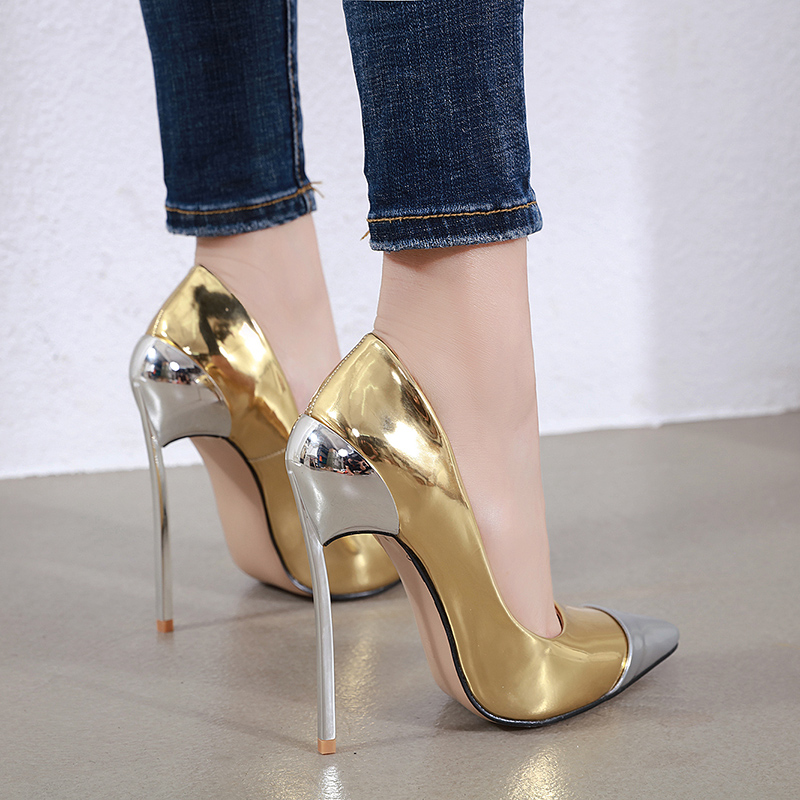 New Wild  Fashion Pointed Toe Super High Heel Pumps Women  PU Leather Women's Shoes Size 35-42
