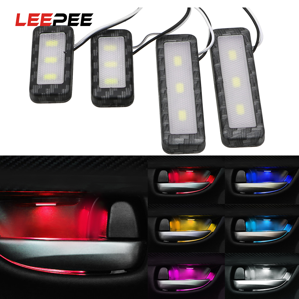 LEEPEE 1 Set Decorative Lights Armrest Interior Door Handle Lighting LED Car Inner Bowl Light Car Styling Auto Atmosphere Lamp