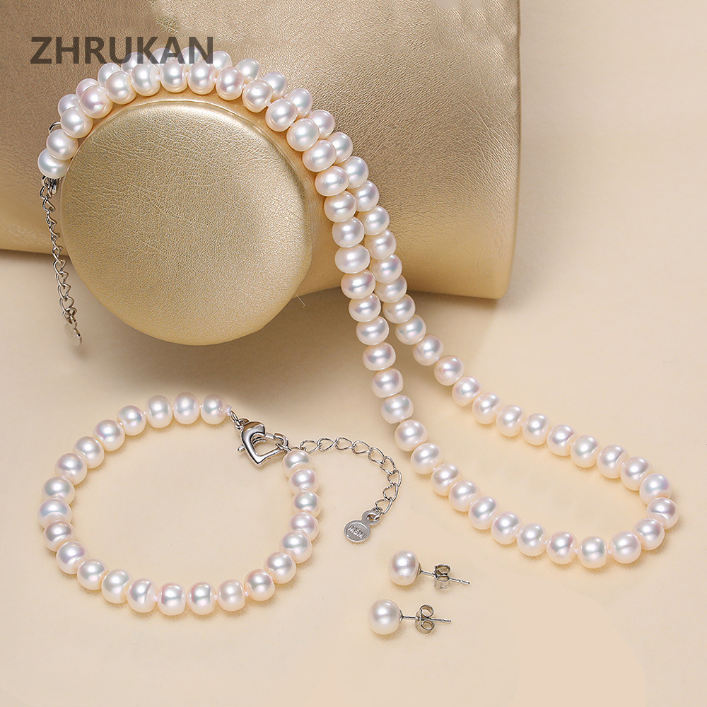 Genuine Natural Freshwater Pear Jewelry Set 925 Sterling Silver Pearl Necklace Bracelet Stud Earrings For Women Fashion Gift