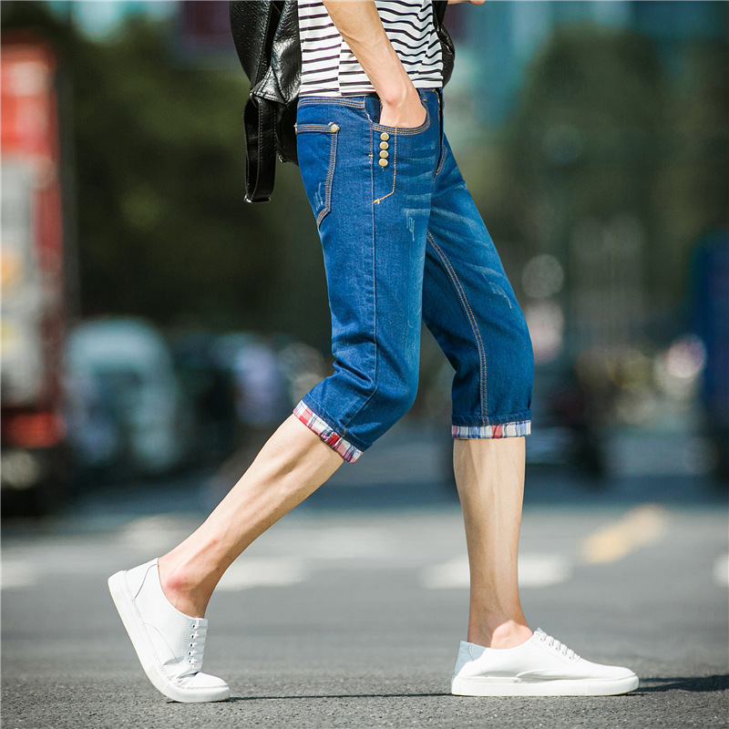 Summer Thin Section Men's Jeans Shorts Men's Pants Teenager Korean-style Slim Fit Elasticity Skinny Pants Men's Trousers