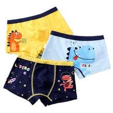 3Pcs Lot Boy Boxers Kids Panties Cartoon Dinosaur Underwear Cotton Teenager Underpants Children's Shorts 2 To 14 Years ZL80