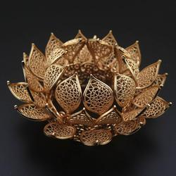 2 uds latón Casted 3 capas flor de loto Coronets pelo cabeza corona diadema accesorios para el cabello tocado joyería de calidad Decoración