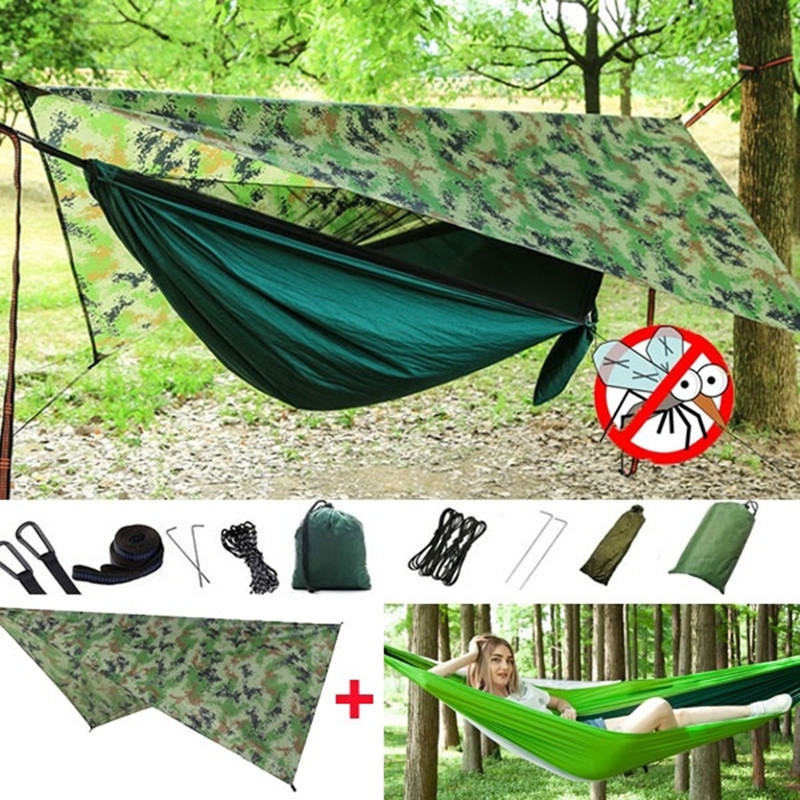 Camping Hammock With Mosquito Net And Rainfly Tarp Hammock Canopy Portable Lightweight Nylon Hammocks With Tree Straps Hammock