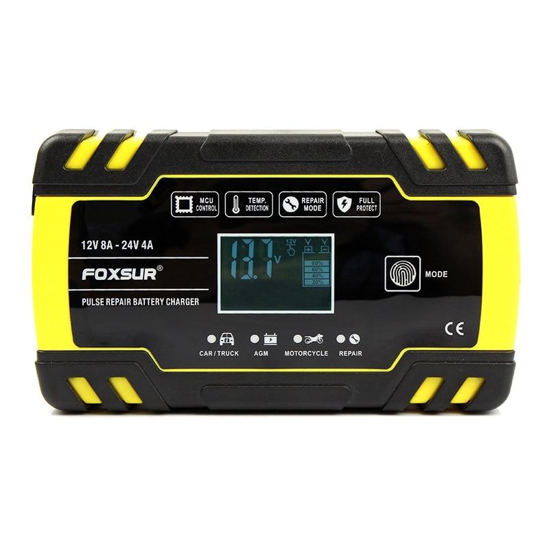 Foxsur 12V 8A 24V 4A Reparação de Pulso Carregador com Display Lcd, Motorcycle & Car Carregador de Bateria, 12V 24V Agm Gel Molhado Chumbo Ácido Batt