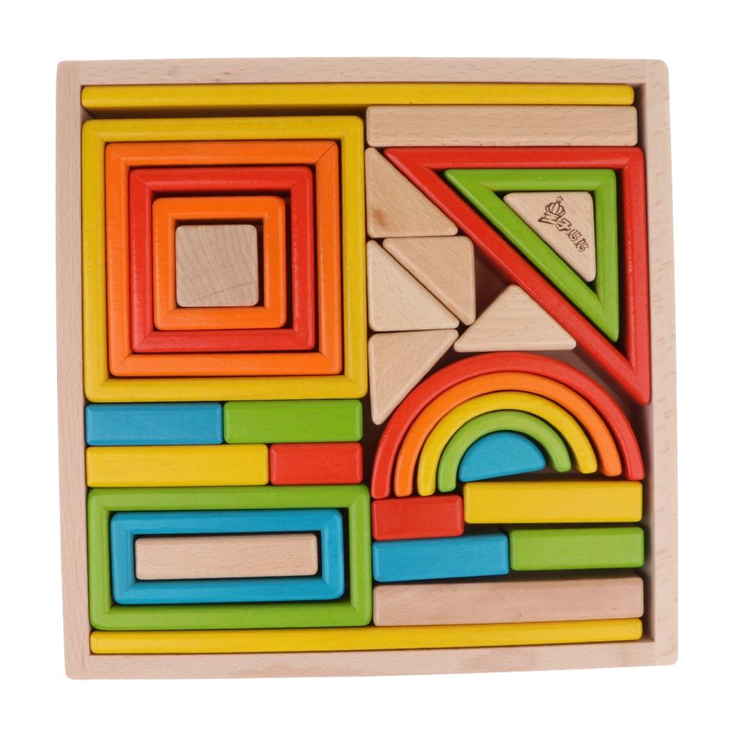 32 pièces enfants en bois arc en ciel blocs empilables jouets éducatifs Montessori - 2