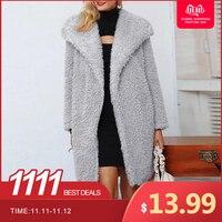 ZANZEA, зимние, плюшевые, пушистые пальто для женщин, воротник с лацканами, открытая передняя часть, искусственный мех, теплые куртки, одноцветн...