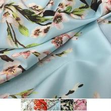 Peach Blossom 100% Polyester Printed Stretch Satin Fabric Soft Clothing Shirt Ladies Brand Cloth for Dress Fabrics Per Meter