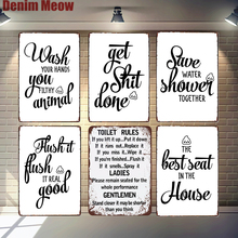 Toilet Rules Plaque Vintage Metal Tin Signs Home Bar Pub Decorative Plates Funny Words Wall Stickers Restroom Art Poster N329