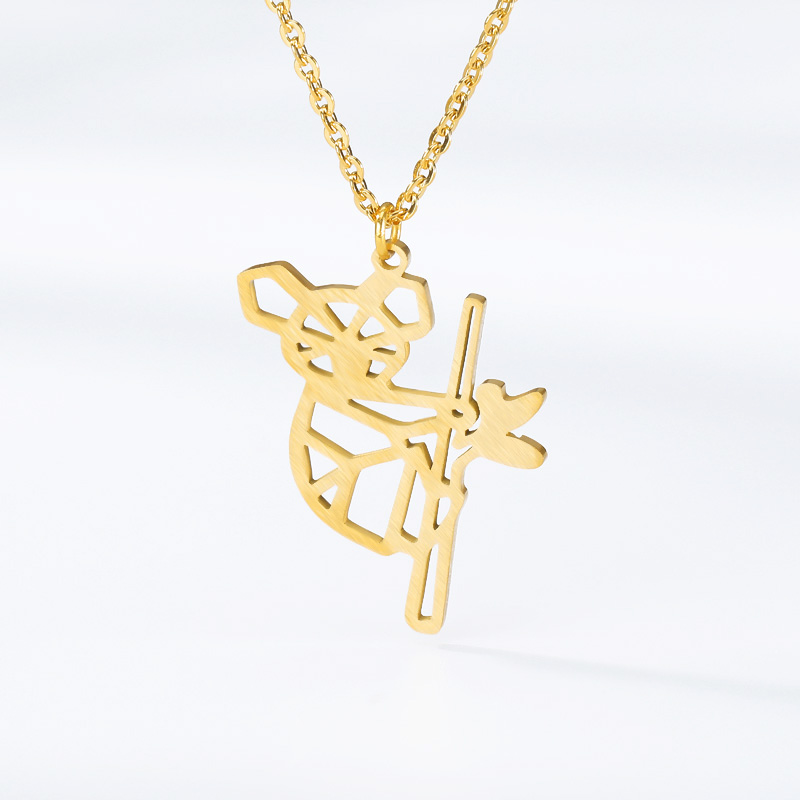 New Arrival European Origami Koala Charm Necklaces Cute Geometric Panda Baby Lover Gifts Jewelry Accessories Wholesale