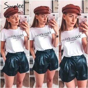 Image 5 - Simplee pantalones cortos de piel sintética para mujer, shorts femeninos de cintura alta, cinturón de otoño e invierno, de pierna ancha, para club de fiestas de señoras