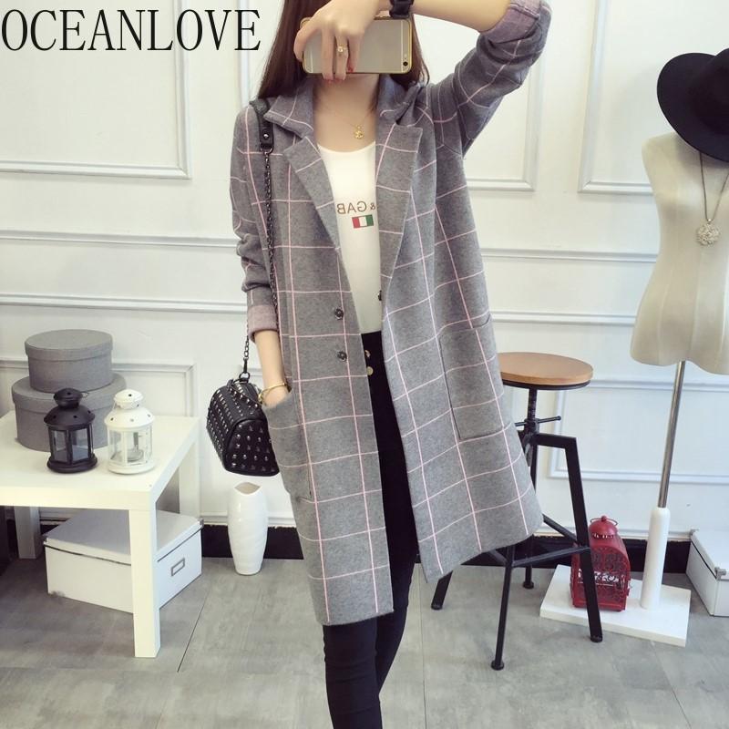 OCEANLOVE Long Cardigan Plaid Pockets Knitted Single Breasted Women Sweater 2020 Elegant Outwear Fashion Chaqueta Mujer 12748