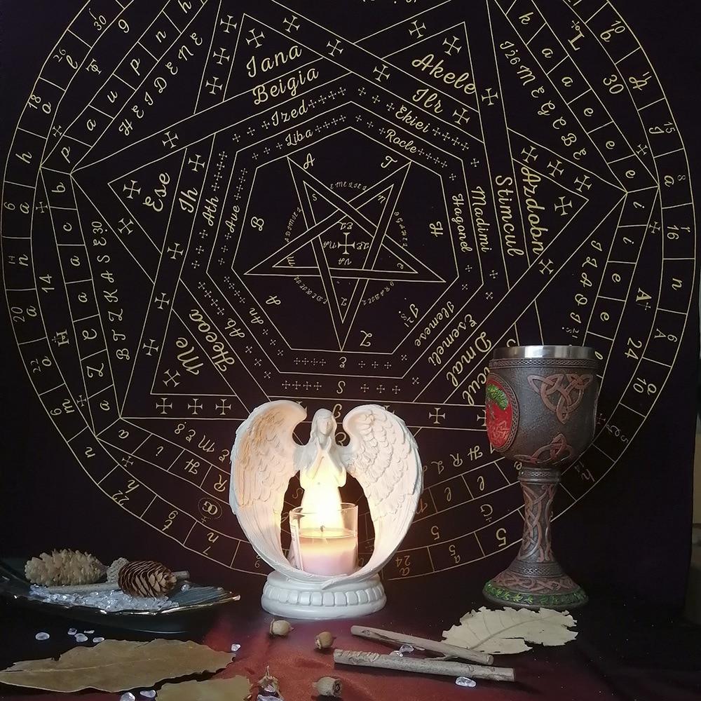 WOWOWO Nappe de Cartes /à Jouer Sigils of Elohim Mysterious Divination Altar Velvet Cloth