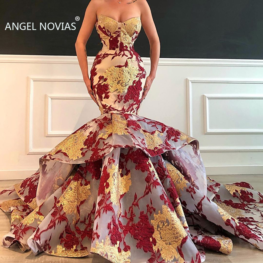 Long Gold Mermaid Arabic Evening Dress 2019 Organza Abendkleider Moroccan Sexy Formal Prom Gowns