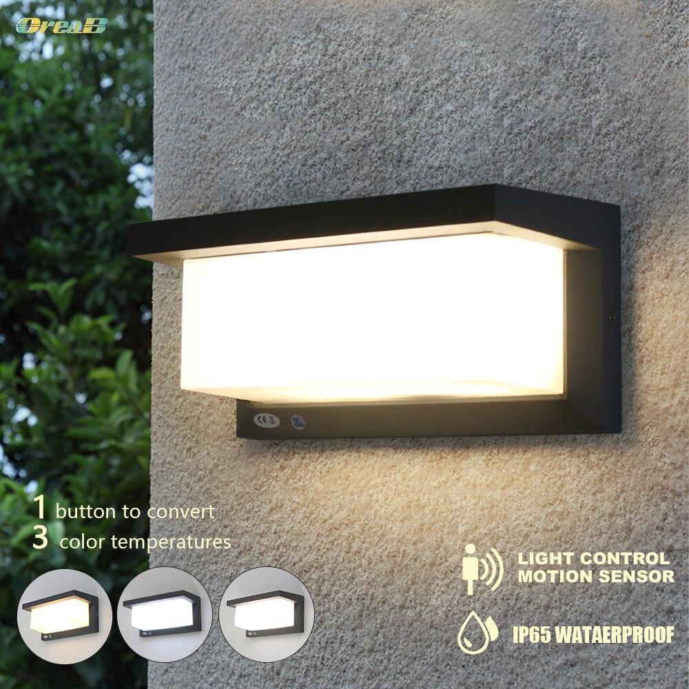 Luz de pared Exterior con Sensor de movimiento y Control de luz 20W / 10W Ip65, lámparas de pared exteriores impermeables, luces Led para escaleras, porche, OREAB