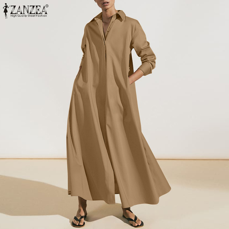 Shirt Dress Robe Spring Long-Sleeve Female Vintage OL Zanzea Fashion Autumn Womens Casual