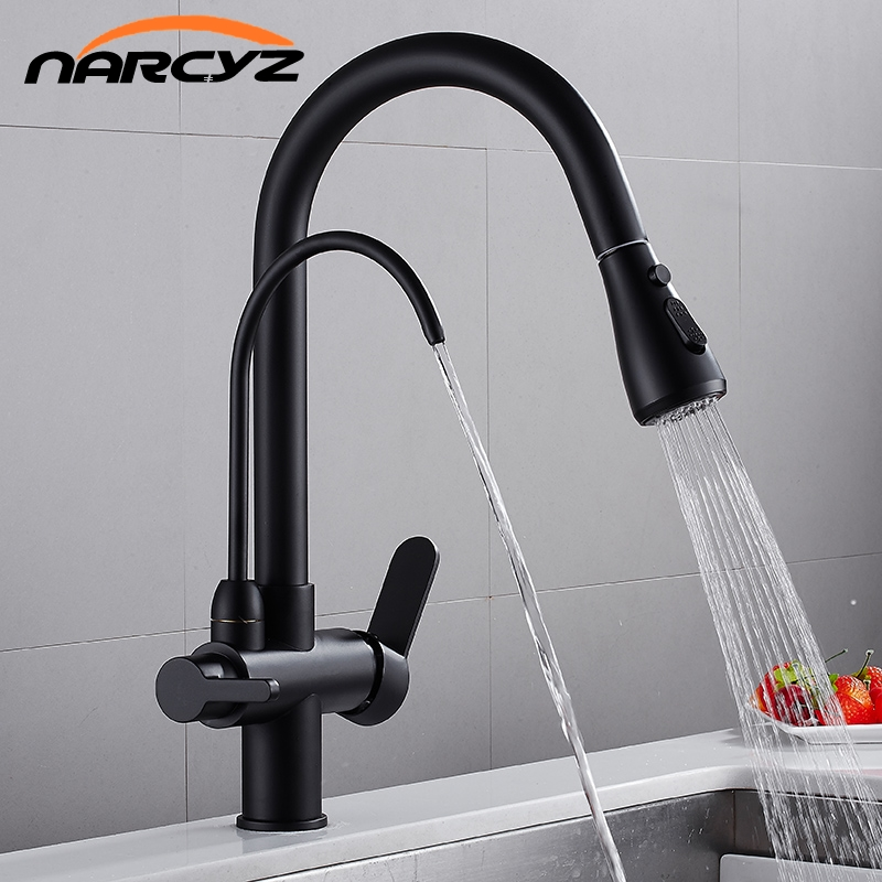 Kitchen Faucets Black Color Crane Kitchen Water Filter Tap Three Ways Sink Mixer Hot and Cold