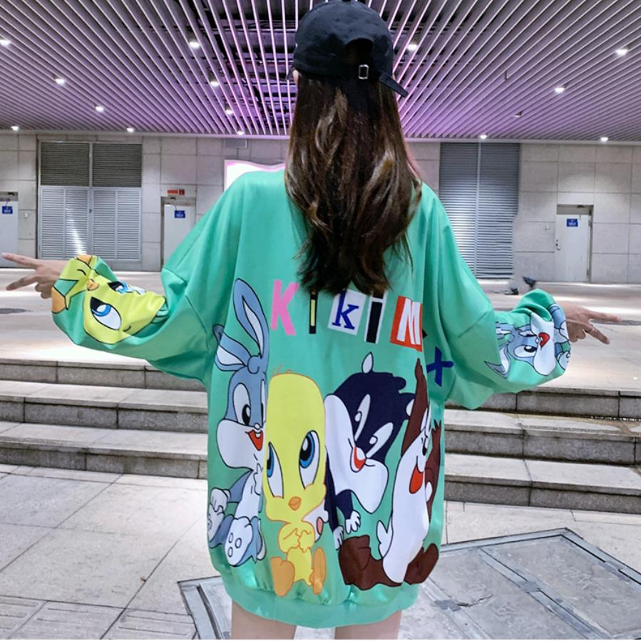 Fashion Long Students Sweet Style Sweatshirt Cartoon Print Designers Loose Oversize Women Shirts Sexy Drop-shoulder Pullovers