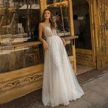 ТРАПЕЦИЕВИДНОЕ свадебное платье с просвечивающей спиной для