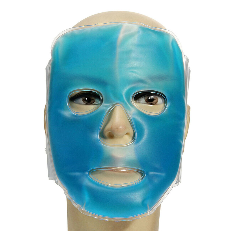 Good Cold Gel Face Mask Ice Compress Blue Full Face Cooling Mask Fatigue Relief Relaxation Pad With Cold Pack Faicial