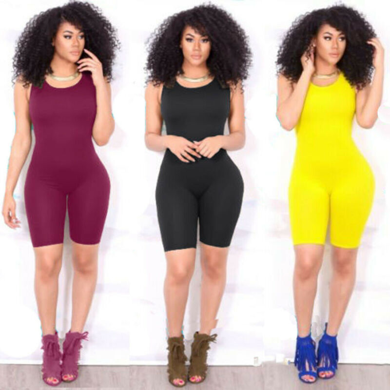 Women Casual Playsuits Bodycon Sleeveless Romper Skinny Jumpsuit Summer Solid Playsuit