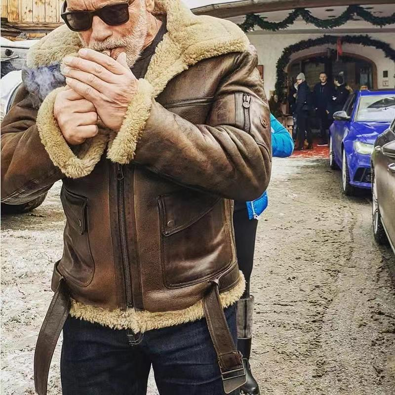 Hirigin 2020 Winter Warm Men Retro Faux Leather Coats Long Sleeve Solid Zipper Long Causal Thick Locomotive Jackets