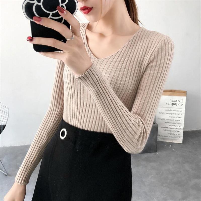 2019 Autumn Sweater Female New Slim Long-sleeved V-neck Bottoming Sweater Sweater Short Short Tight Inside