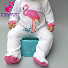 "Doll Rompers cartoon flamingo clothes for newborn baby doll oufit sets for 18"" baby doll accessories toys wear kids gift(China)"
