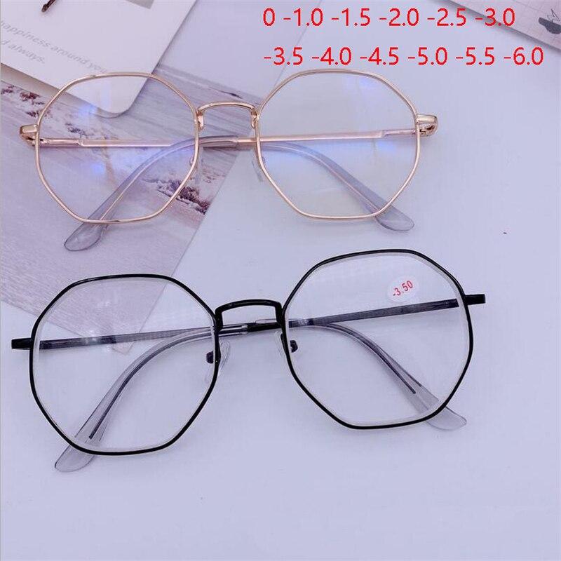 Homem vintage anti azul óculos de luz quadro com grau redondo feminino miopia lente míope óculos 0-1.0-1.5-2.0 para-6.0