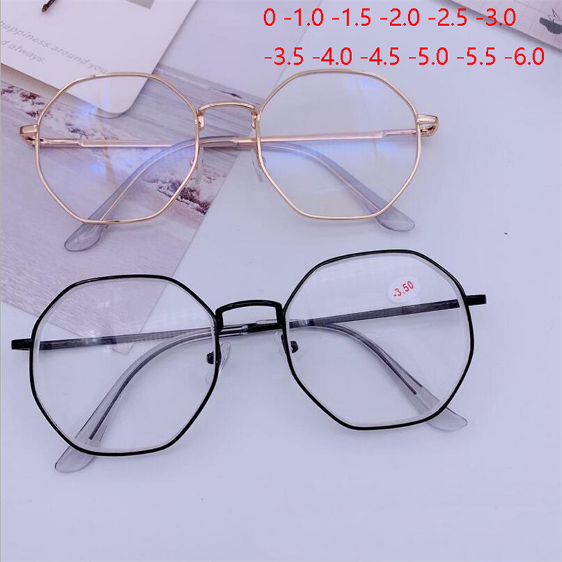 Men Vintage Anti Blue light Glasses Frame With Degree Round Women Myopia Lens Nearsighted Glasses 0  1.0  1.5  2.0 To  6.0
