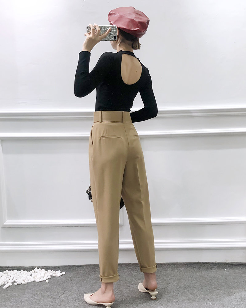 H04555ca1350e4037a65c17fe65096cc4t - Office Lady Black Suit Pants With Belt Women High Waist Solid Long Trousers Fashion Pockets Pantalones FICUSRONG Pencil