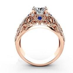 Женское кольцо с бриллиантами 14 к, розовое золото, 2 карата, ювелирное изделие с драгоценными камнями 14 к, Bizuteria