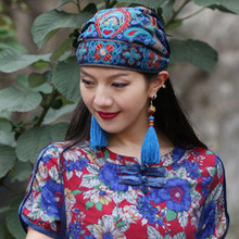 Hat Femme 2020New Elegant Tops Women Mexican Style Ethnic Vintage Embroidery Flowers Bandanas Red  Print Hat New Fashion Mujer kyqiao mexican style ethnic vintage black blue embroidery flowers bandanas 2017 women winter original hippie hat free shipping