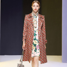 New Fashion Runway Designer Casual Trench Women's Elegant Letter Printed Lenther