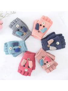 Warm-Gloves Mittens Primary Cashmere-Knit Christmas Half-Finger Girls Kids Winter Boys