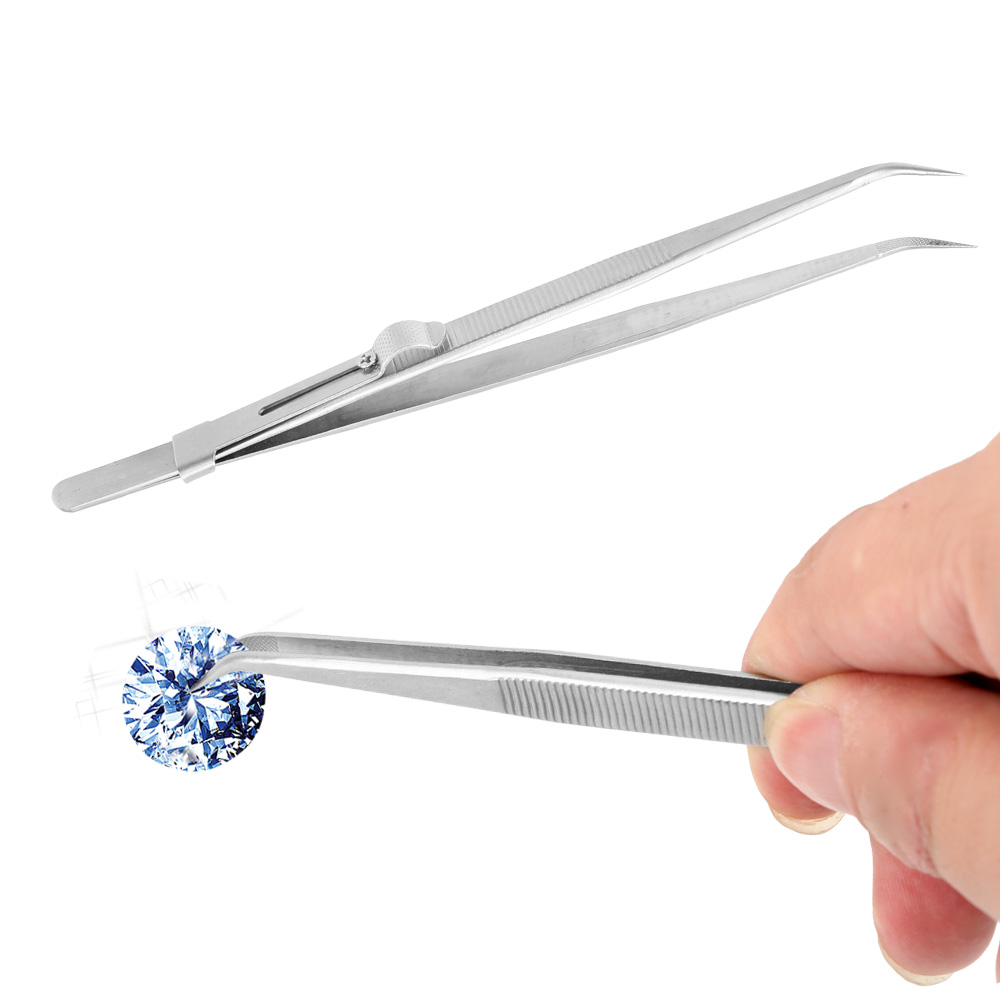 Industrial Tweezers For Jewelry Electronic Slide Lock Adjustable Tweezers Anti Static Curved Tip Stainless Steel Presicion