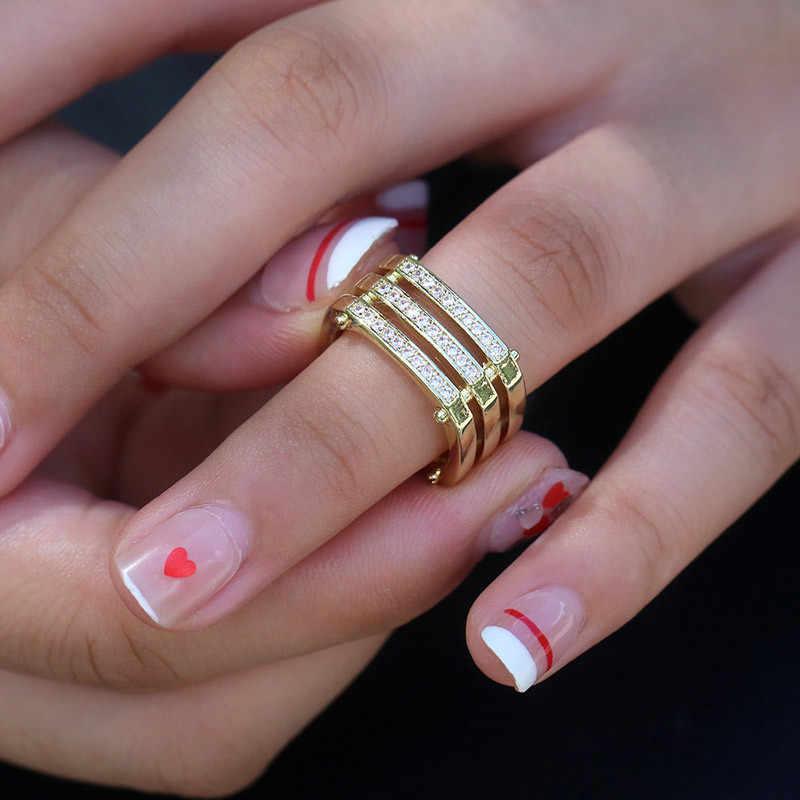 ใหม่ออกแบบทองคำ AAA Cz งานแต่งงานแหวนสำหรับชายหญิง 925 เงินสามแถวเครื่องประดับคริสตัล