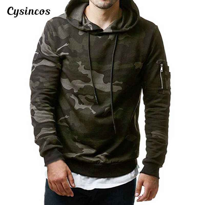 CYSINCOS Camouflage Hoodies Men 2019 New Fashion Sweatshirt Male Camo Hoody Hip Autumn Winter Military Hoodie Plus Size 3XL