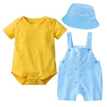 Noworodek chłopcy ubrania uśmiech kapelusz + żółty kombinezon + body miękkie bawełniane letnie stroje dziecięce drukowane odzież dla niemowląt tanie i dobre opinie Kabeier COTTON Na co dzień O-neck Zestawy Sweter Krótki REGULAR Pasuje prawda na wymiar weź swój normalny rozmiar Bawełna czesana