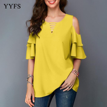 Womens tops and blouses Women Summer Solid Color Cold Shoulder Blouse shirts plus size Chiffon ladies top camisas mujer blusas недорого