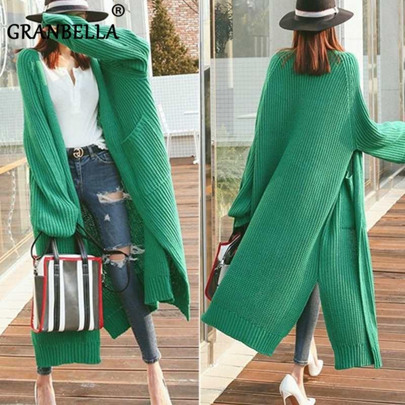 2019 Fashion Long Cardigan Women  Loose Knit Sweater Female Casual  Oversized Jacket Coat Autumn Thick Sweaters Big Pockets