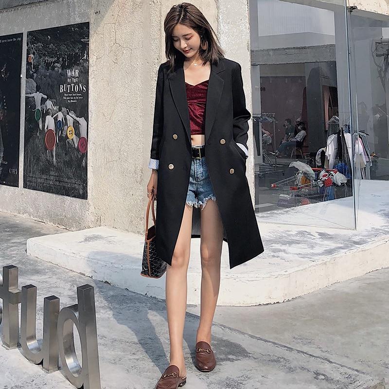 2019 Autumn New Hong Kong Flavor Temperament Long Paragraph Small Suit Jacket Female Black Retro Casual Slim Small Suit Jacket