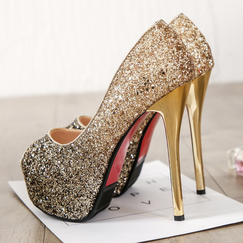 BIG SIZE 39 super High Heels Wedding Party Shoes Women Pumps High Heels 14cm Thick Soles Open peep Toe Sexy Pumps Platform CZ 93 in High Heels from Shoes