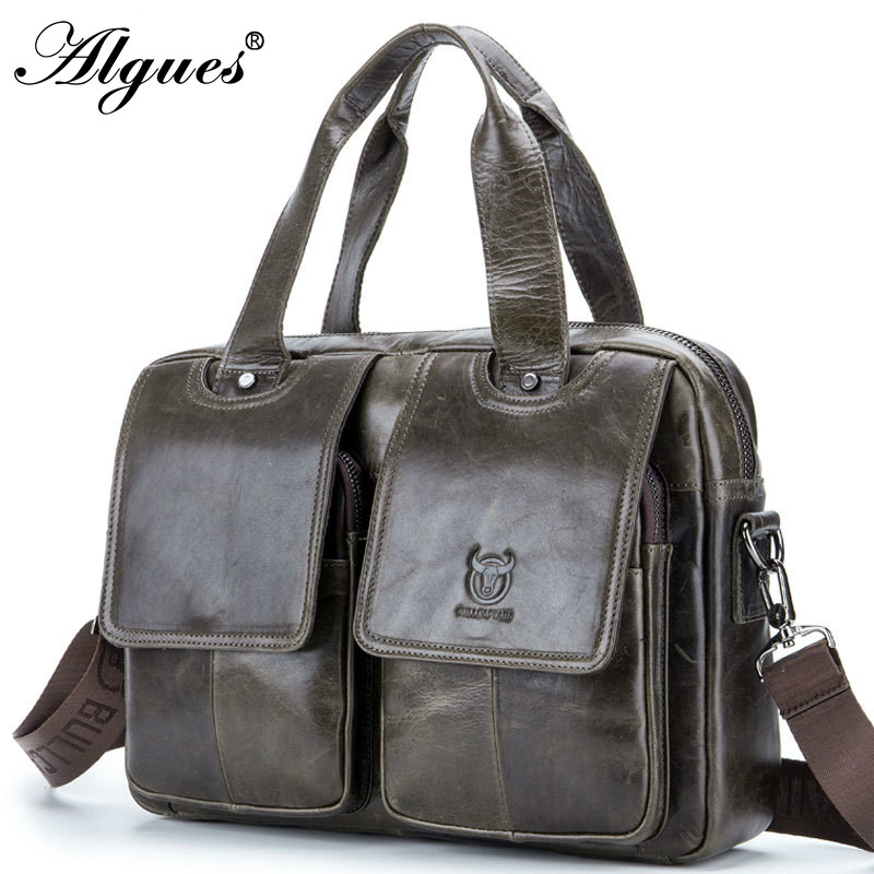 Fashion Men Briefcase Multifunction Genuine Leather Bussiness Handbag Laptop Messenger Bag Shoulder Crossbody Bags For Male
