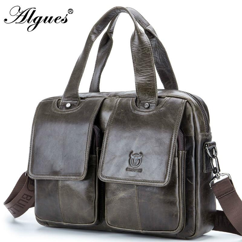 Fashion Men Briefcase Multifunction Genuine Leather Bussiness Handbag Laptop Messenger Bag Shoulder Crossbody Bags For Male