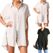 New Women Short Sleeve Button Down Loose Long Line Side Split Tunic Tops Blouse