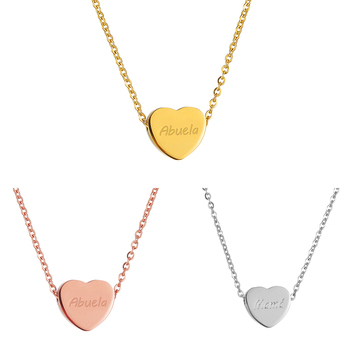 Mom Grandma Necklace Heart Pendant Engraved Abuela Mama Letter Stainless Steel Choker Mother's day Jewelry Gifts image