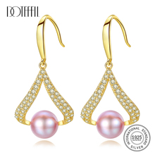 DOTEFFIL New Pearl Earrings For Women 925 Silver Drop Earrings Gilt Genuine Natural Freshwater Pearl Charm Jewelry Lady Gift doteffil new earrings natural freshwater pearl genuine 925 silver zircon pearl earrings for women jewelry engagement gift